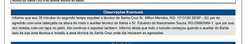 Sumula Bahia x Santa Cruz