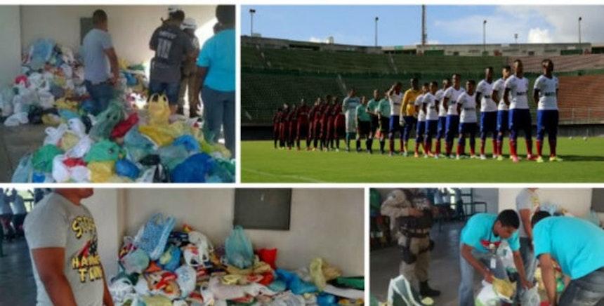 Bahia recolheu 2,9 toneladas de alimentos que serão doados para escola (Foto: Divulgação / EC Bahia)