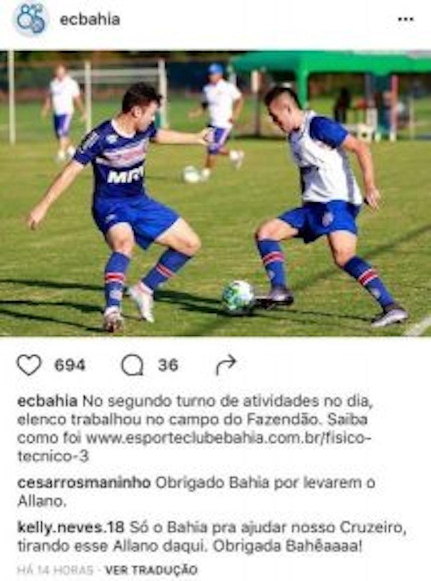 Torcedores do Cruzeiro agradecem ao Bahia por contratarem Allano