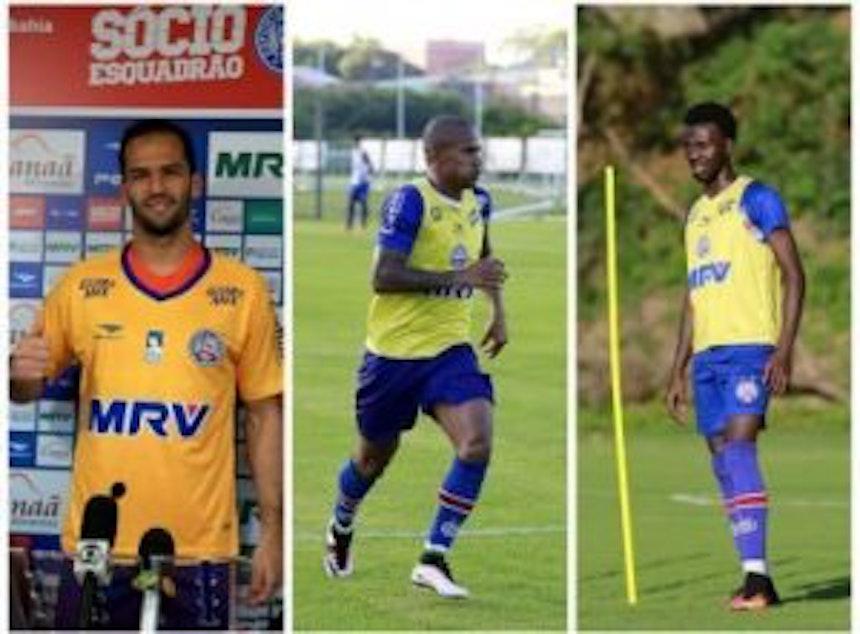 Os recém-contratados Muriel, Eduardo e Allano já foram regularizados e podem estrear pelo tricolor (Fotos: Felipe Oliveira)