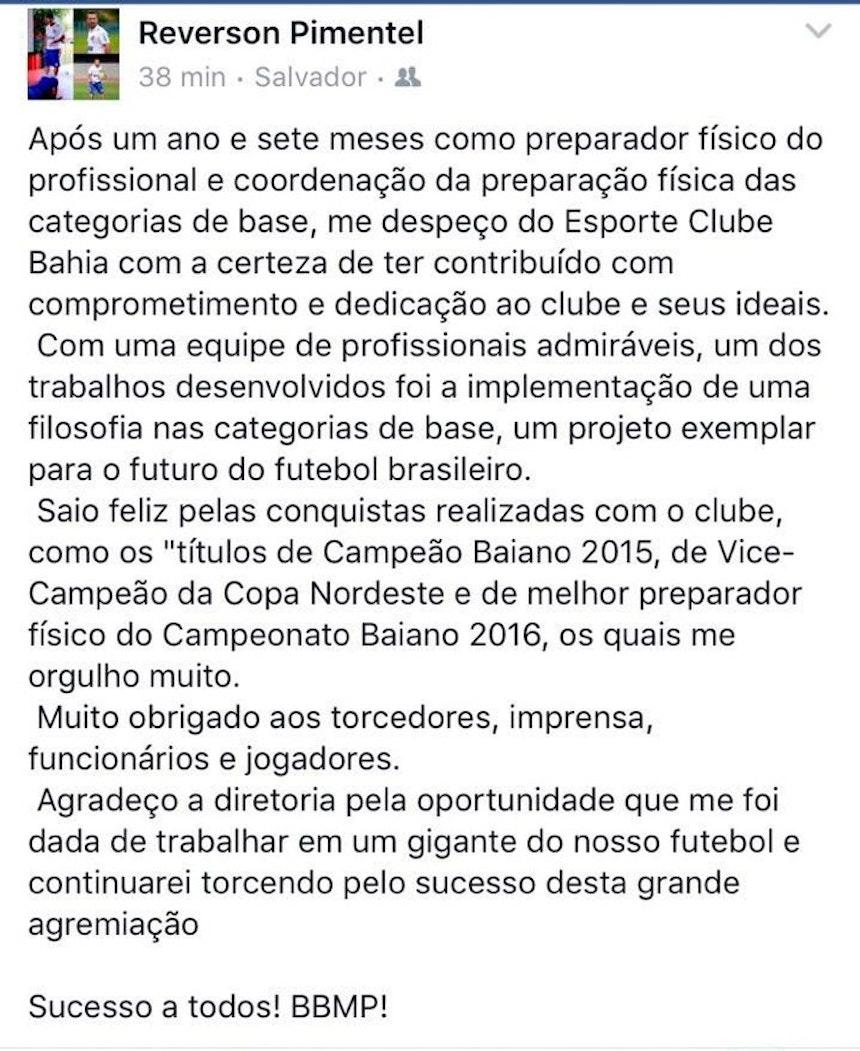 Reverson Pimentel se despede do Bahia, por meio de rede social (Foto: Reprodução)