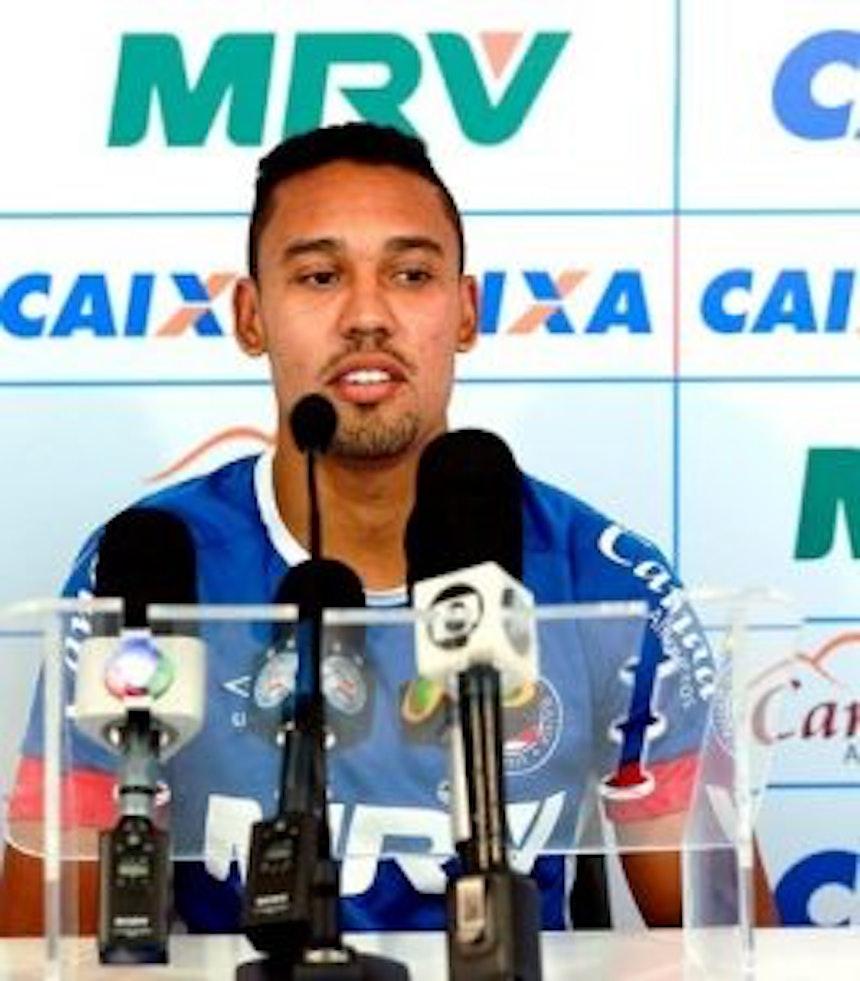 Edigar Junio fala em entrevista coletiva (Foto: Felipe Oliveira/EC Bahia/Divulgação)