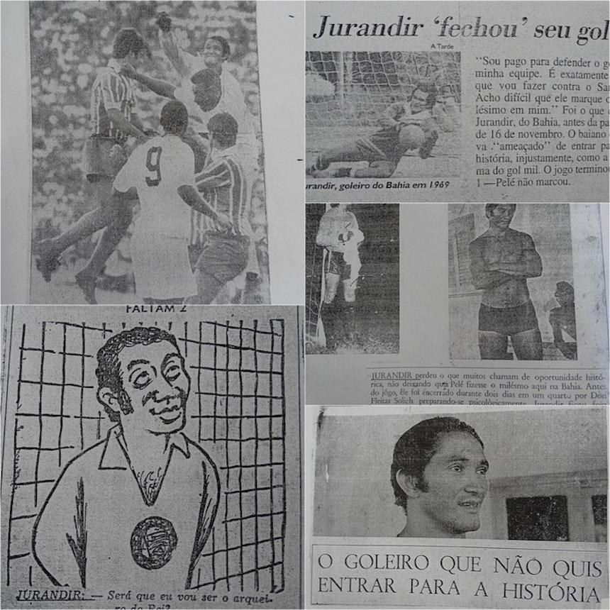 Jornais da época exaltaram atuação de Jurandir na partida contra Pelé (Foto: Lafaete Vaz / GloboEsporte.com)