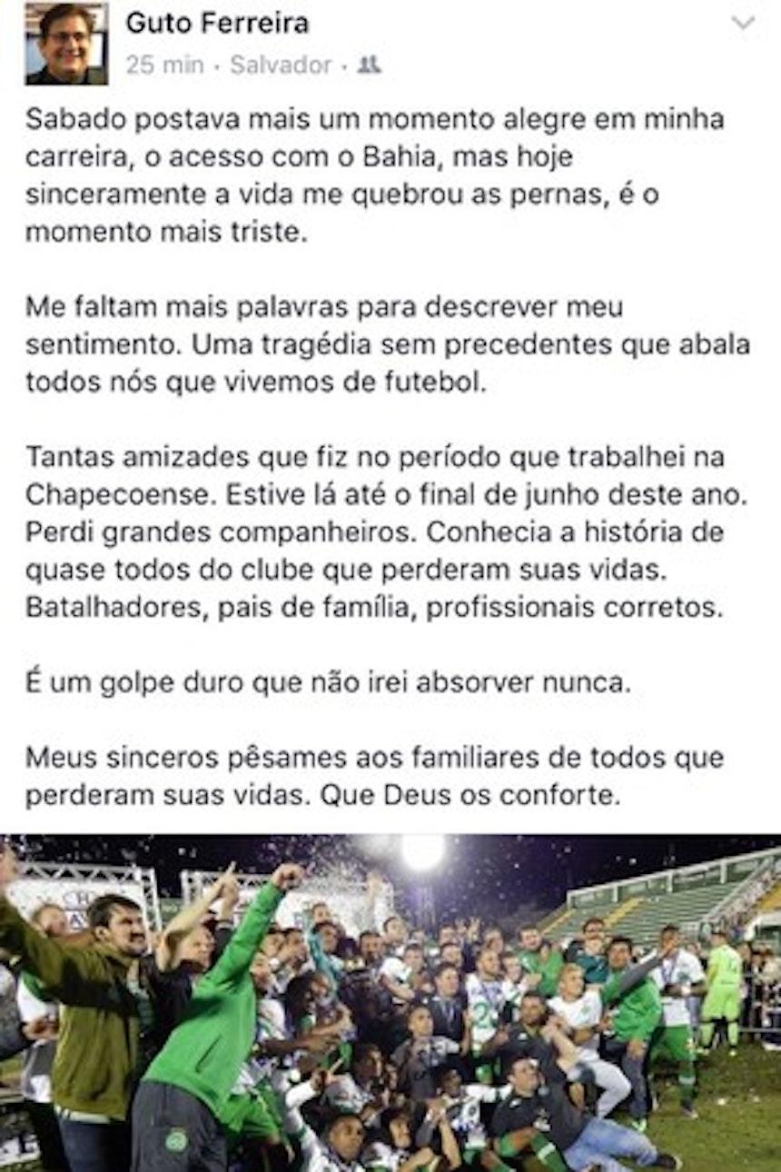 No Facebook, Guto Ferreira lamenta acidente aéreo (Foto: Reprodução)