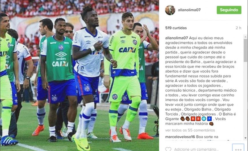 Allano se despede do Bahia em rede social (Foto: Reprodução Internet)