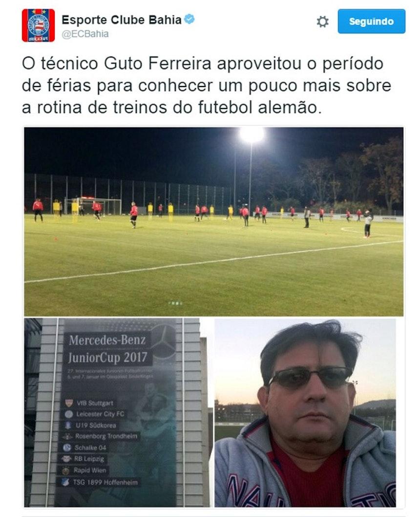 Clube divulgou a viagem de Guto Ferreira através de seu perfil no Twitter (Foto: Reprodução)