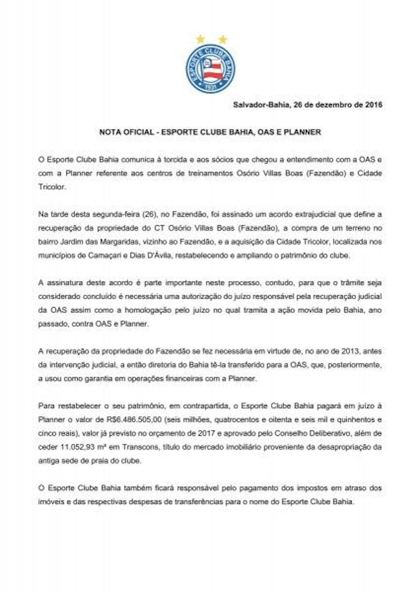 Nota Oficial Bahia