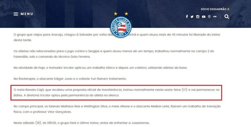 Notícia do Bahia fala em recusa da proposta da Ponte pelo meia Renato Cajá
