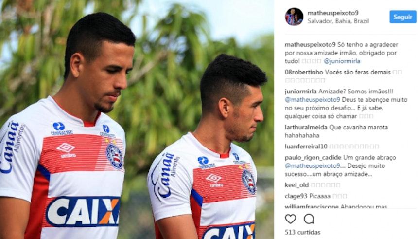 Matheus Peixoto agradece Juninho (Foto: Reprodução / Instagram)