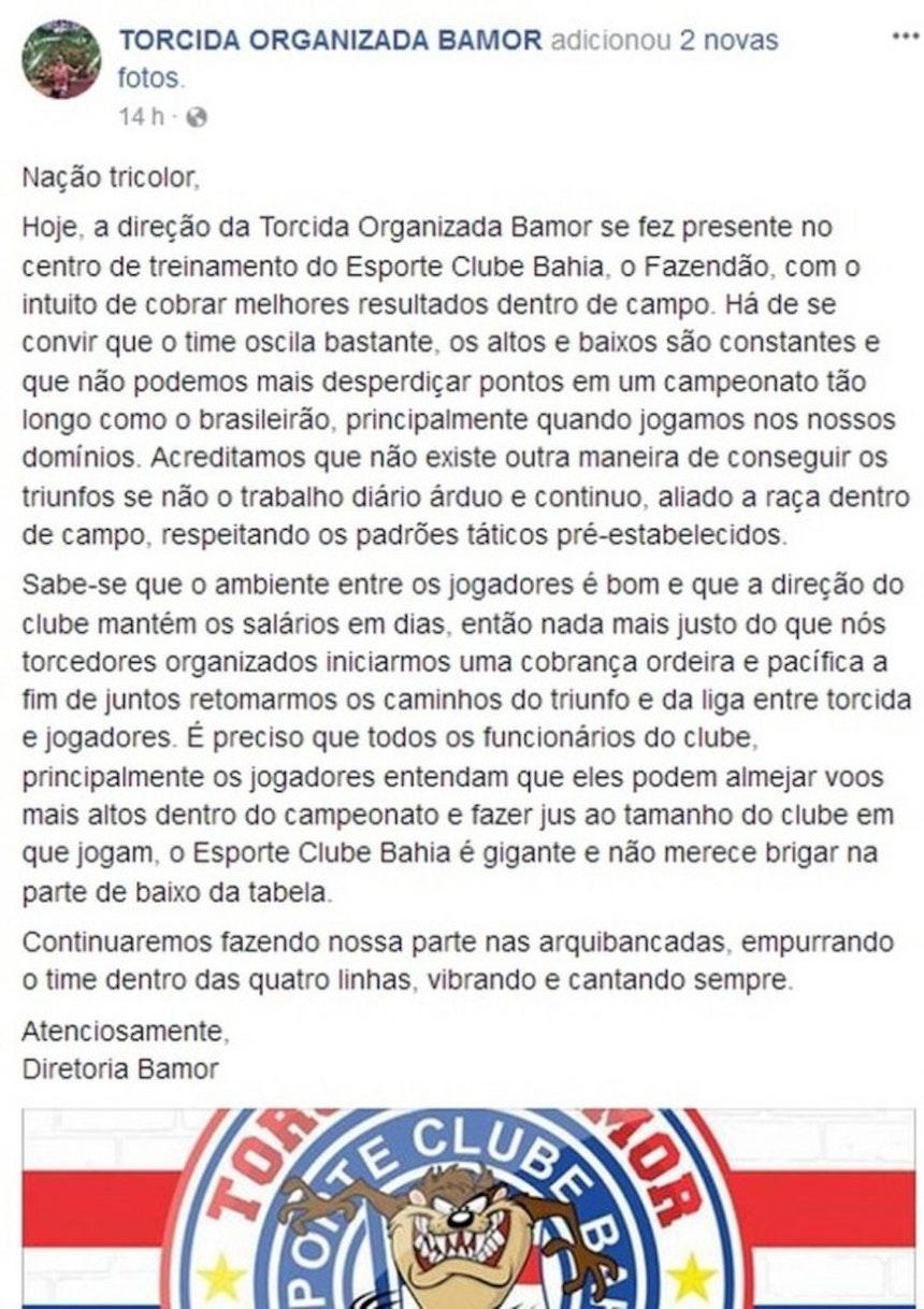 Em postagem publicada em rede social, a Bamor explica que encontro ocorreu para cobrar melhores resultados na Série A (Foto: Reprodução / Facebook)