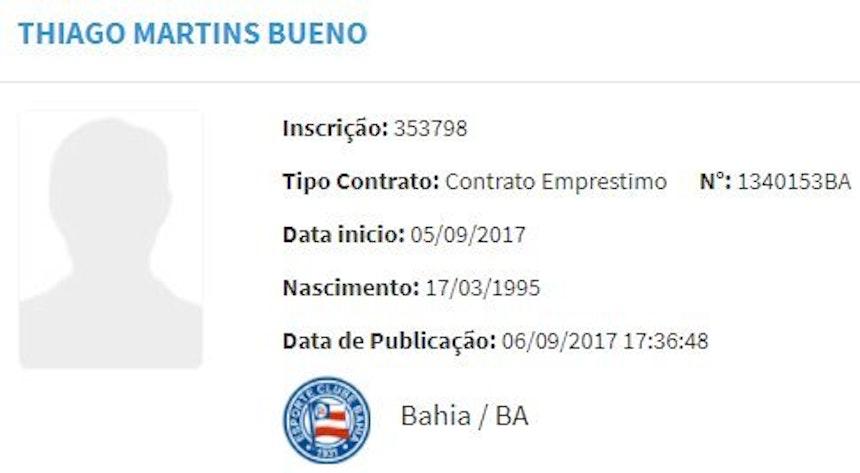 Thiago Martins é registrado pelo BID (Foto: Reprodução / CBF)