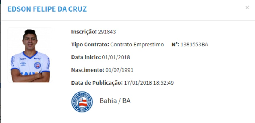 Contrato de Edson é registrado no BID da CBF (Foto: Reprodução/CBF)