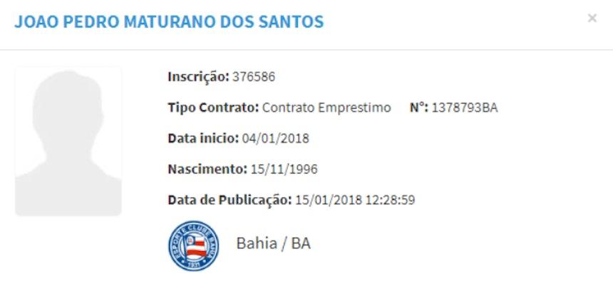 Contrato de João Pedro é registrado no BID da CBF (Foto: Reprodução/CBF)