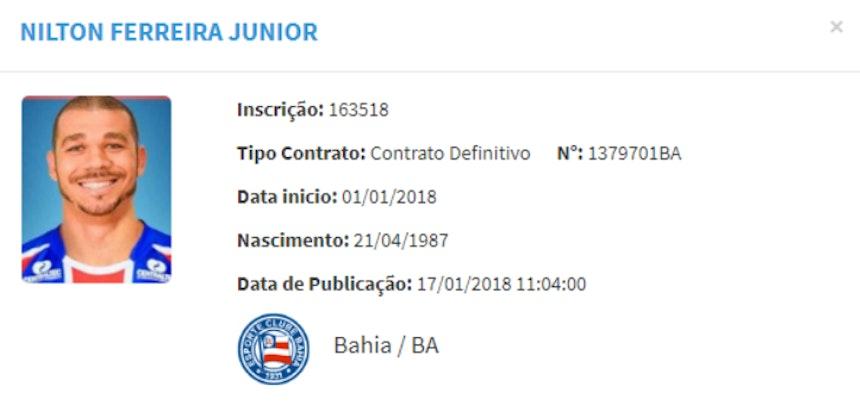 Contrato de Nilton é registrado no BID da CBF (Foto: Reprodução/CBF)
