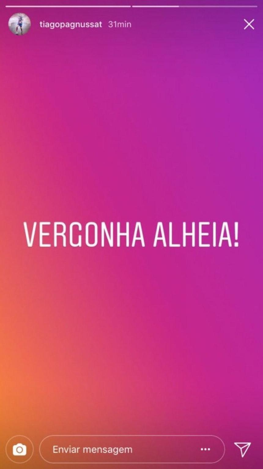 Postagem de Tiago no Instagram após o Ba-Vi (Foto: Reprodução/Instagram)