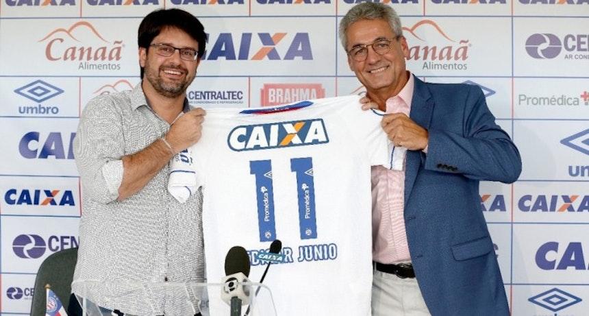 Guilherme Bellintani anuncia patrocínio da Promédica (Foto: Felipe Oliveira/Divulgação/EC Bahia)