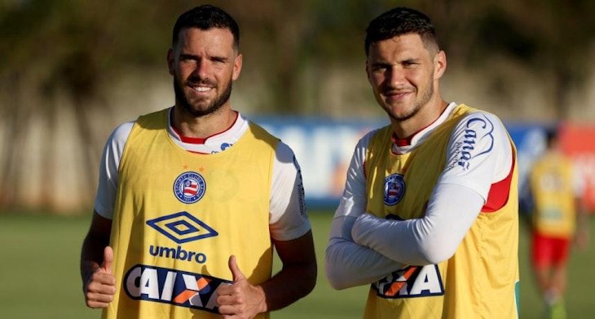 Lucas Fonseca e Tiago treinam pelo Bahia no Fazendão (Foto: Felipe Oliveira/Divulgação/EC Bahia)