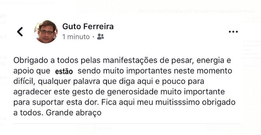Postagem de Guto Ferreira nas redes sociais (Foto: Divulgação)