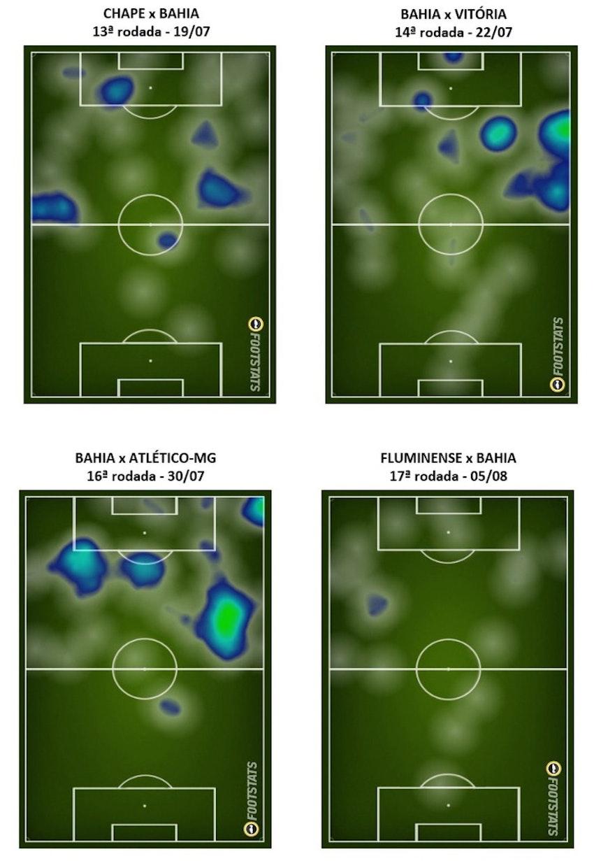 Mapa de calor de Gilberto nos jogos pela Série A (Foto: GloboEsporte.com)
