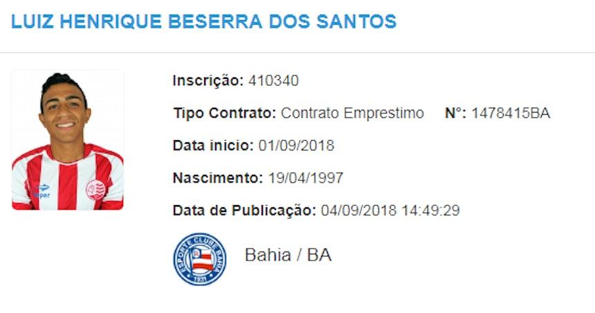 Luiz Henrique foi registrado no BID (Foto: Reprodução/CBF)