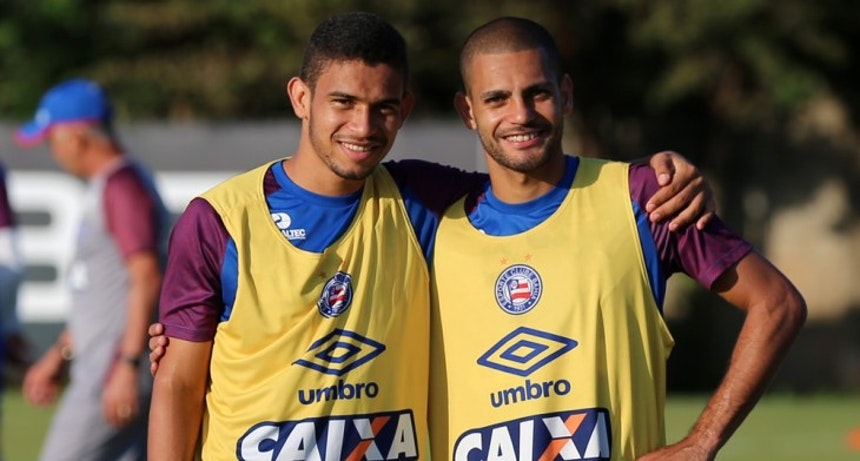 Marco Antônio e Clayton treinam pelo Bahia no Fazendão (Foto: Felipe Oliveira/Divulgação/EC Bahia)