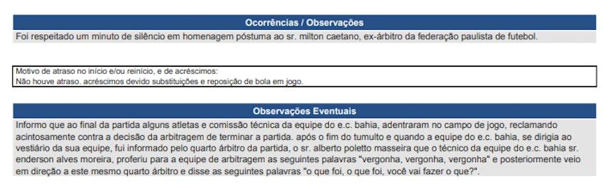 Súmula da partida entre São Paulo e Bahia (Foto: Reprodução/CBF)