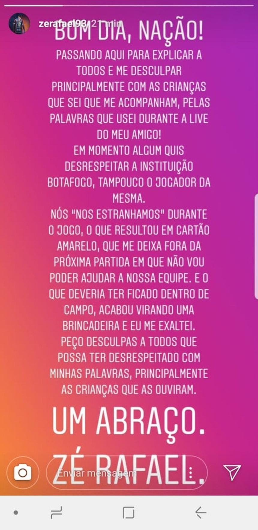 Zé Rafael pede desculpas por xingamentos a Rodrigo Lindoso (Foto: Reprodução)