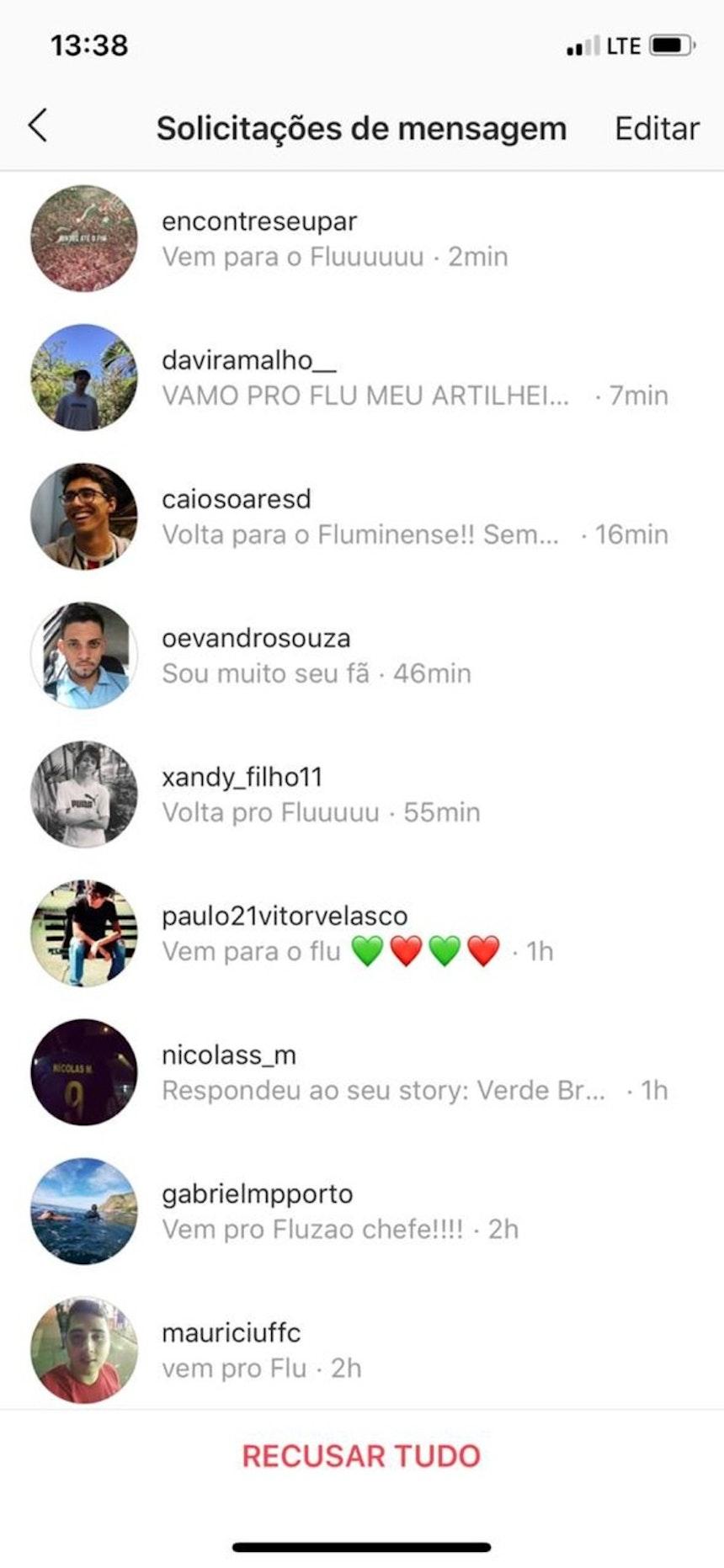 Torcedores do Fluminense pedem o retorno de Vinícius (Foto: Reprodução)