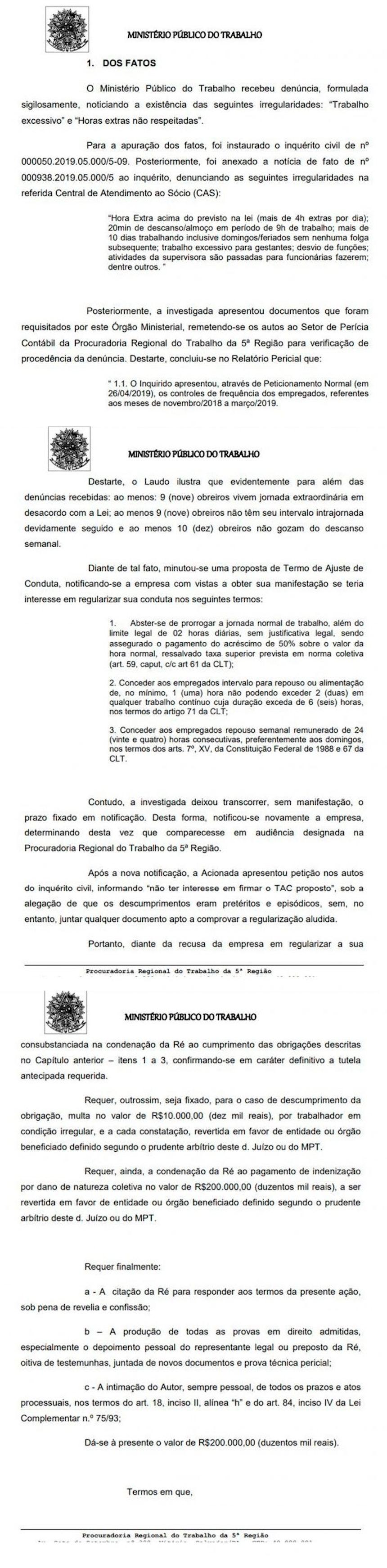 Bahia é denunciado pelo Ministério Público do Trabalho